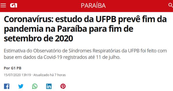 Coronavírus: estudo da UFPB prevê fim da pandemia na Paraíba para fim de setembro de 2020