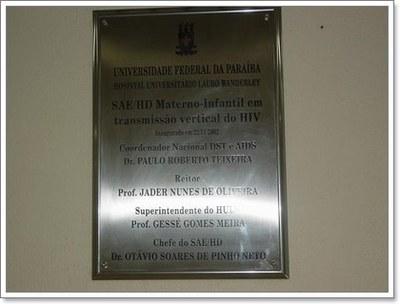 Fig. 6: Placa de inauguração do SAE Materno-Infantil