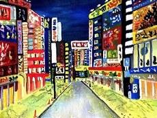 Noite em acrílico da artista Mari Lira